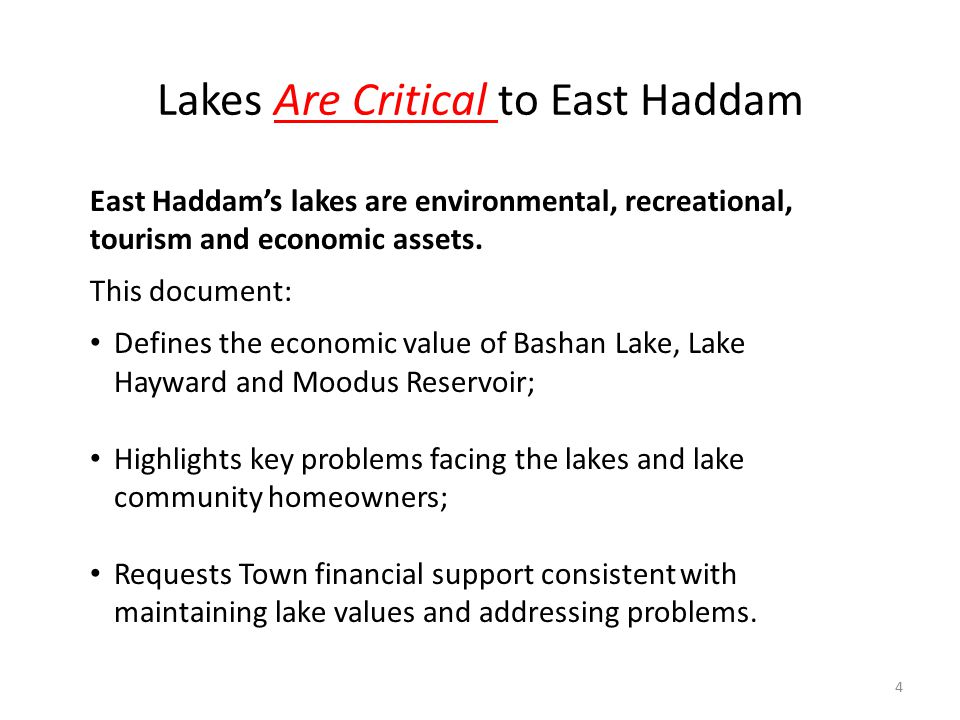 Lakes Are Critical to East Haddam East Haddam's lakes are environmental, recreational, tourism and economic assets.