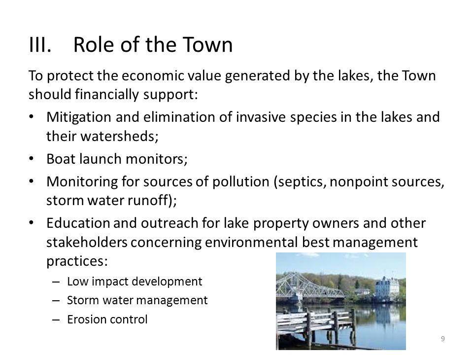 III.Role of the Town To protect the economic value generated by the lakes, the Town should financially support: Mitigation and elimination of invasive species in the lakes and their watersheds; Boat launch monitors; Monitoring for sources of pollution (septics, nonpoint sources, storm water runoff); Education and outreach for lake property owners and other stakeholders concerning environmental best management practices: – Low impact development – Storm water management – Erosion control 9