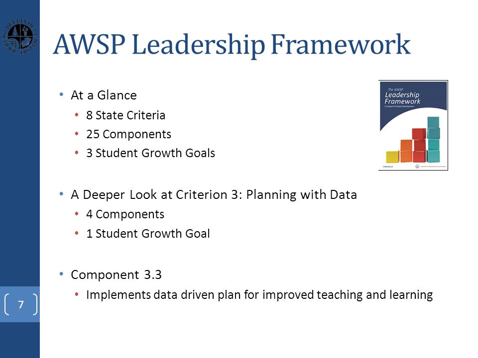AWSP Leadership Framework At a Glance 8 State Criteria 25 Components 3 Student Growth Goals A Deeper Look at Criterion 3: Planning with Data 4 Components 1 Student Growth Goal Component 3.3 Implements data driven plan for improved teaching and learning 7