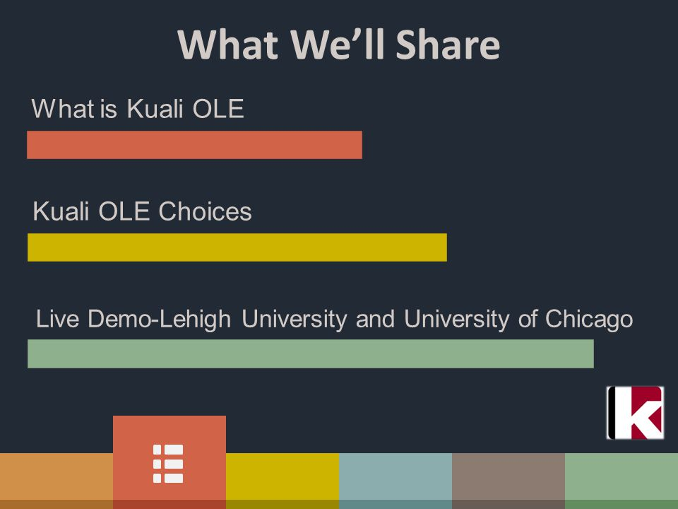 What We'll Share What is Kuali OLE Kuali OLE Choices Live Demo-Lehigh University and University of Chicago