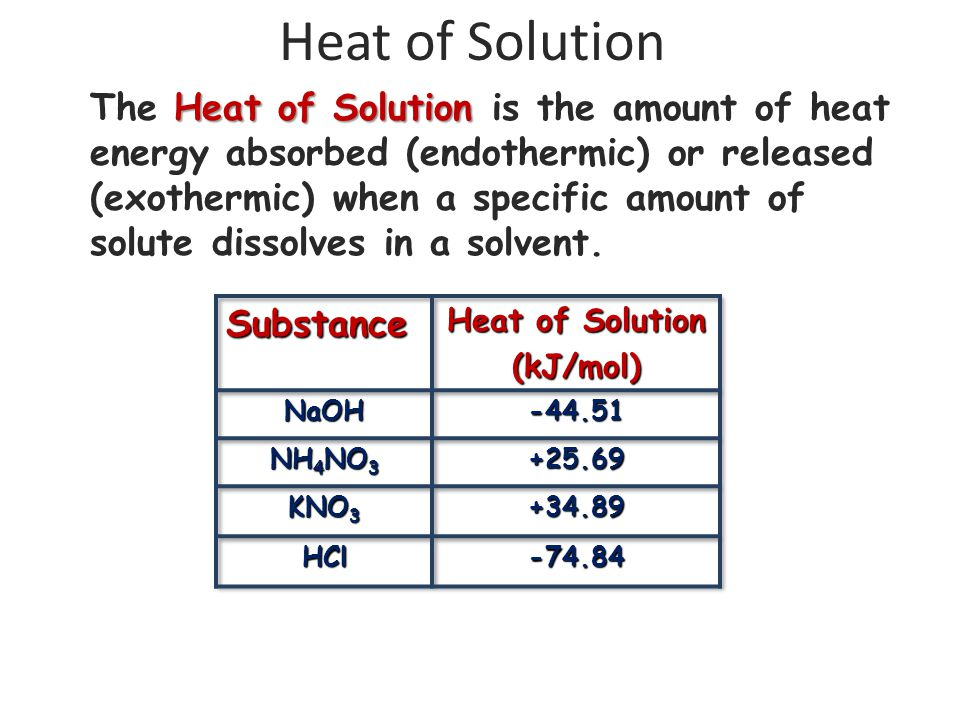 Heat of Solution Heat of Solution The Heat of Solution is the amount of heat energy absorbed (endothermic) or released (exothermic) when a specific am