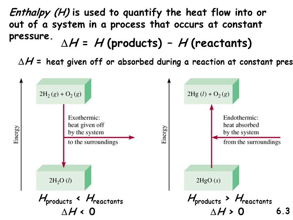 Enthalpy (H) is used to quantify the heat flow into or out of a system in a process that occurs at constant pressure.  H = H (products) – H (reactant