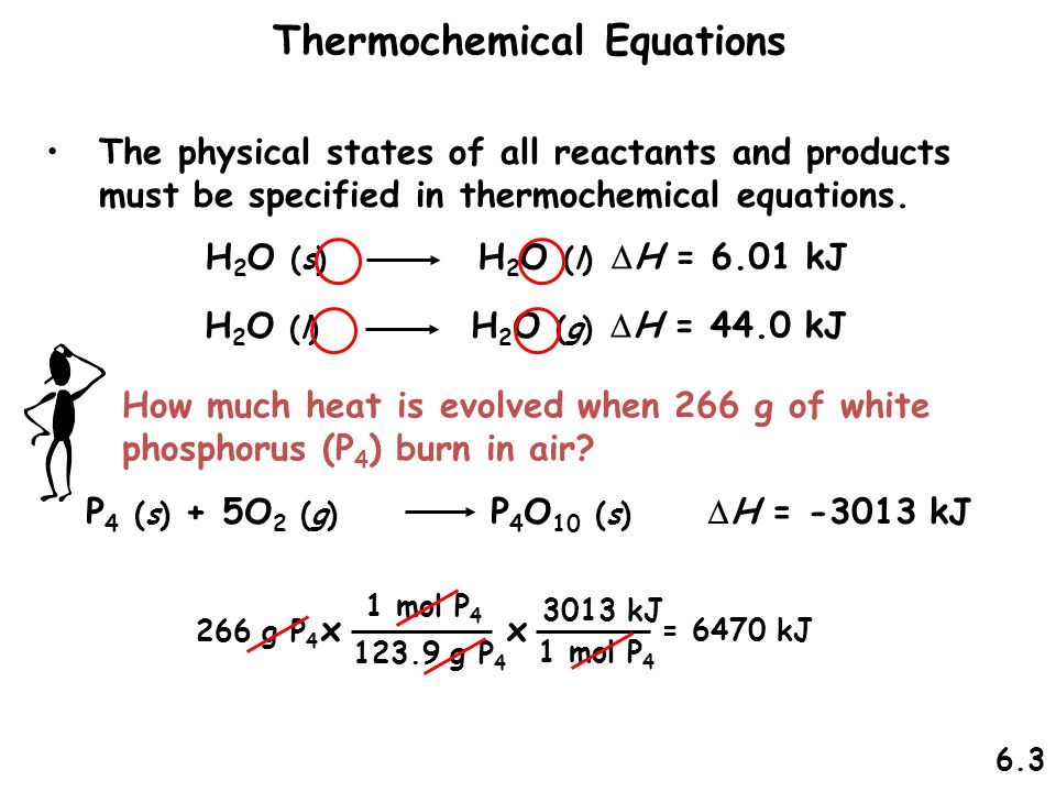 H 2 O (s) H 2 O (l)  H = 6.01 kJ The physical states of all reactants and products must be specified in thermochemical equations. Thermochemical Equa
