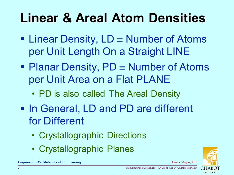 BMayer@ChabotCollege.edu ENGR-45_Lec-04_Crystallography.ppt 23 Bruce Mayer, PE Engineering-45: Materials of Engineering 4axis Indices CheckSum  Given