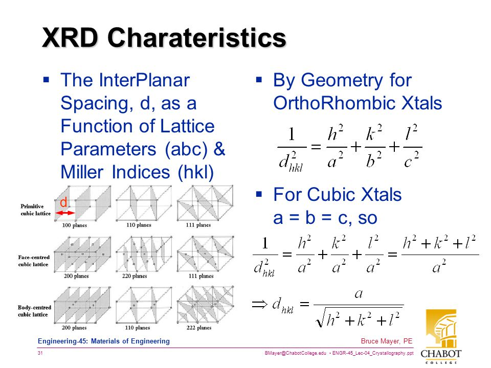 BMayer@ChabotCollege.edu ENGR-45_Lec-04_Crystallography.ppt 30 Bruce Mayer, PE Engineering-45: Materials of Engineering XRD Constructive Interference