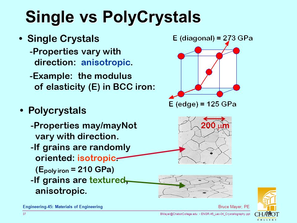 BMayer@ChabotCollege.edu ENGR-45_Lec-04_Crystallography.ppt 36 Bruce Mayer, PE Engineering-45: Materials of Engineering PolyCrystals → Grains  Most e