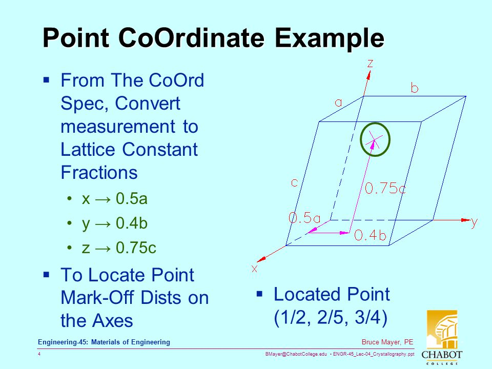 BMayer@ChabotCollege.edu ENGR-45_Lec-04_Crystallography.ppt 4 Bruce Mayer, PE Engineering-45: Materials of Engineering Point CoOrdinate Example  From The CoOrd Spec, Convert measurement to Lattice Constant Fractions x → 0.5a y → 0.4b z → 0.75c  To Locate Point Mark-Off Dists on the Axes  Located Point (1/2, 2/5, 3/4)
