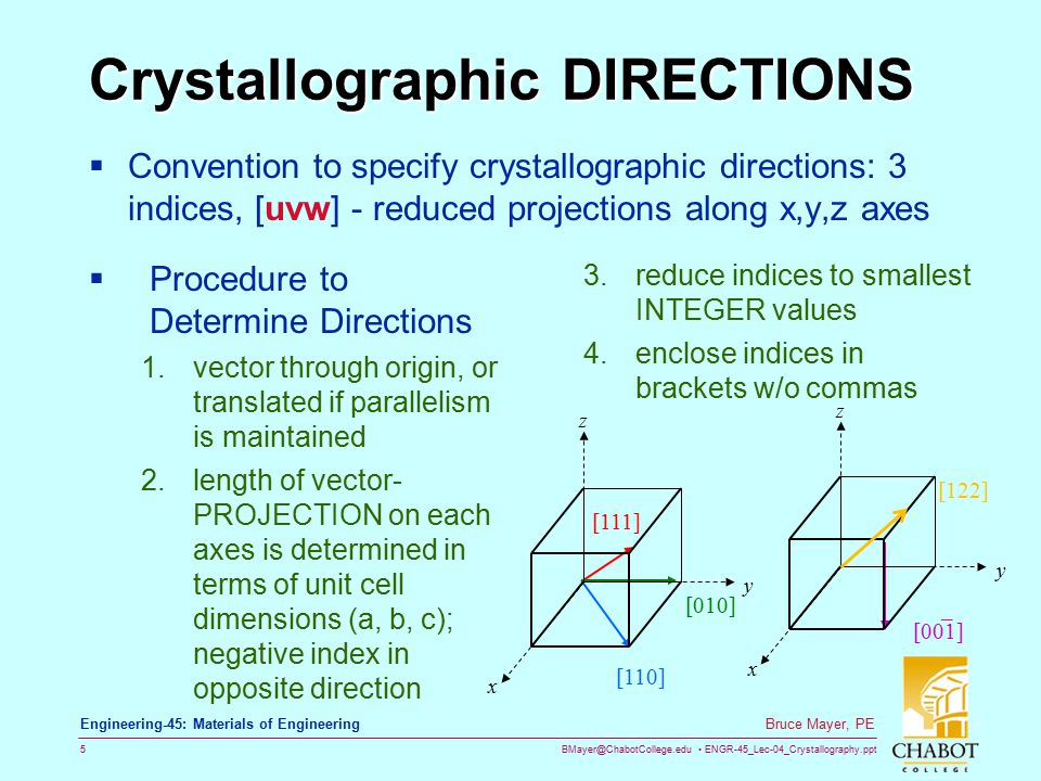 BMayer@ChabotCollege.edu ENGR-45_Lec-04_Crystallography.ppt 15 Bruce Mayer, PE Engineering-45: Materials of Engineering FAMILIES of PLANES  Crystallographically EQUIVALENT PLANES → {Curly Braces} notation e.g., in a cubic system,  Family of {110} planes: SAME ATOMIC ARRANGEMENTS within all those planes