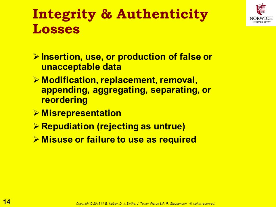 14 Copyright © 2013 M. E. Kabay, D. J. Blythe, J. Tower-Pierce & P. R. Stephenson. All rights reserved. Integrity & Authenticity Losses  Insertion, u