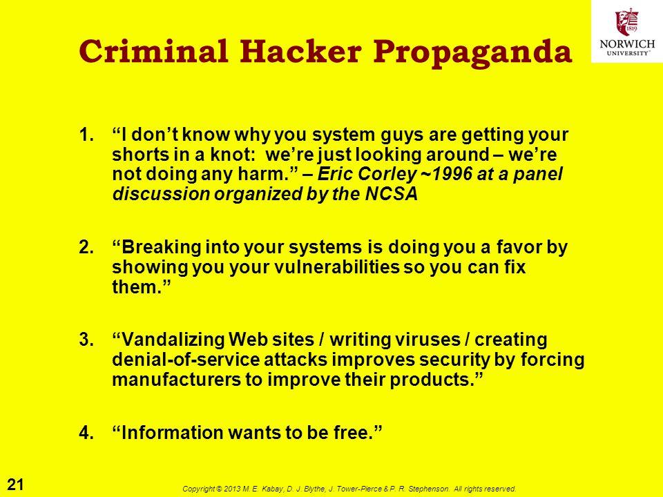 "21 Copyright © 2013 M. E. Kabay, D. J. Blythe, J. Tower-Pierce & P. R. Stephenson. All rights reserved. Criminal Hacker Propaganda 1.""I don't know why"