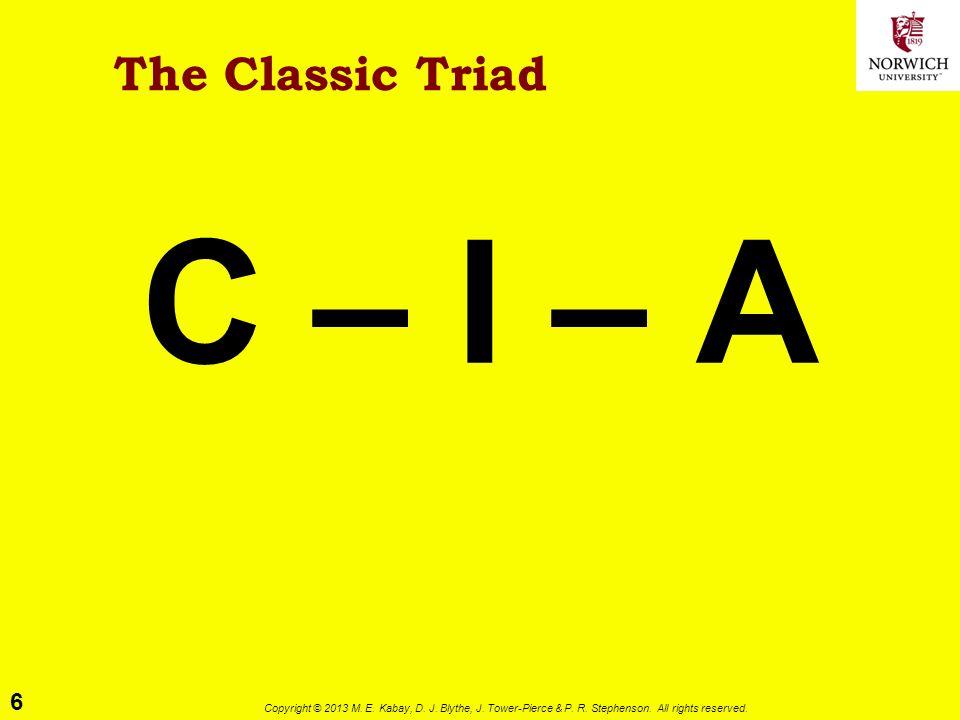 6 Copyright © 2013 M. E. Kabay, D. J. Blythe, J. Tower-Pierce & P. R. Stephenson. All rights reserved. The Classic Triad C – I – A