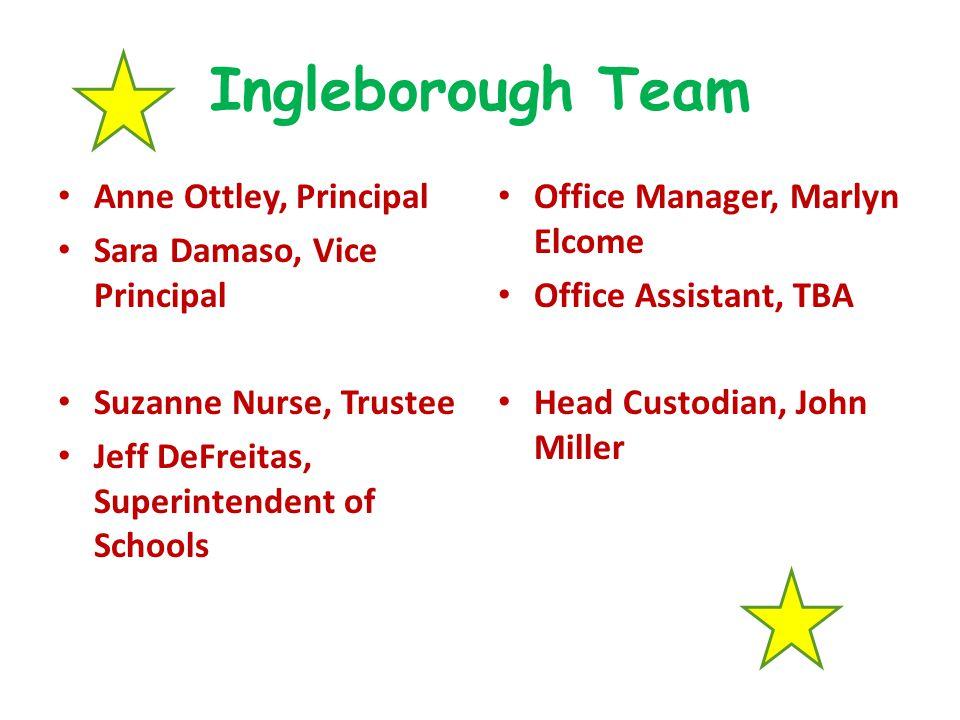Ingleborough Team Anne Ottley, Principal Sara Damaso, Vice Principal Suzanne Nurse, Trustee Jeff DeFreitas, Superintendent of Schools Office Manager,