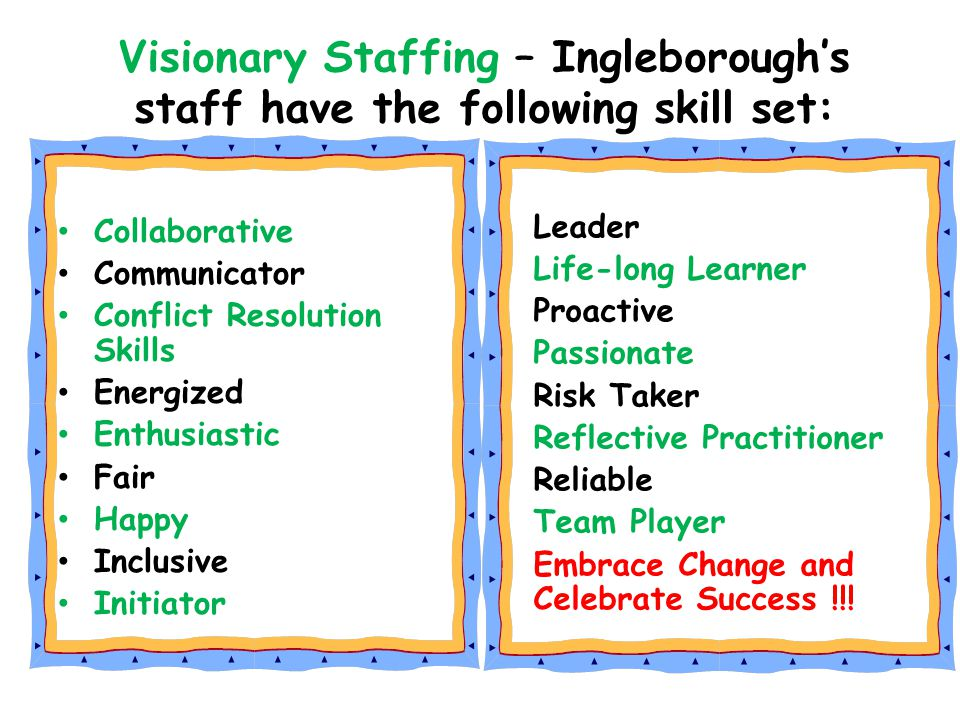 Visionary Staffing – Ingleborough's staff have the following skill set: Collaborative Communicator Conflict Resolution Skills Energized Enthusiastic F