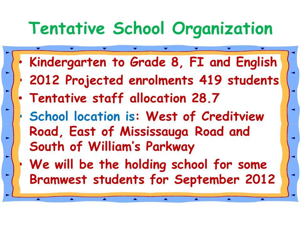 Tentative School Organization Kindergarten to Grade 8, FI and English 2012 Projected enrolments 419 students Tentative staff allocation 28.7 School lo