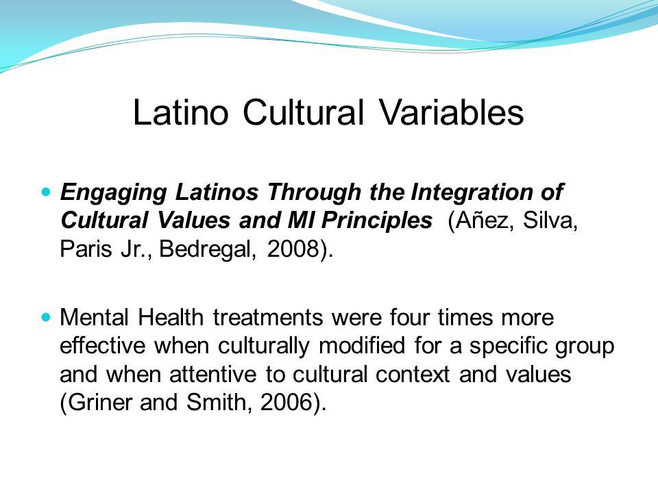 Latino Cultural Variables Engaging Latinos Through the Integration of Cultural Values and MI Principles (Añez, Silva, Paris Jr., Bedregal, 2008).