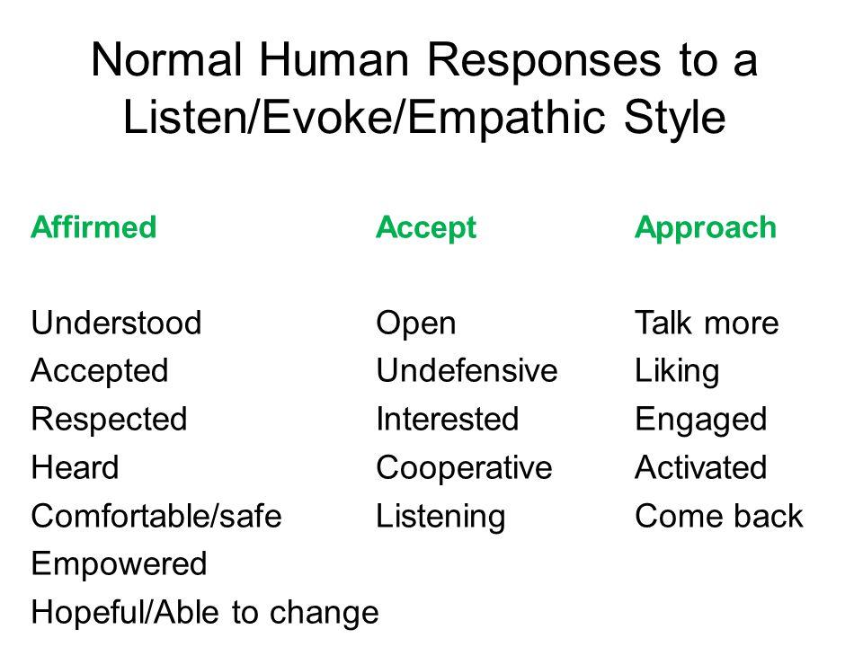 Normal Human Responses to a Listen/Evoke/Empathic Style AffirmedAcceptApproach UnderstoodOpenTalk more AcceptedUndefensiveLiking RespectedInterestedEngaged HeardCooperativeActivated Comfortable/safeListeningCome back Empowered Hopeful/Able to change