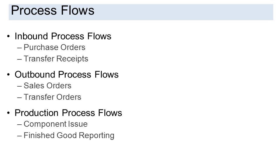 Introduction Inbound Process Flows –Purchase Orders –Transfer Receipts Outbound Process Flows –Sales Orders –Transfer Orders Production Process Flows –Component Issue –Finished Good Reporting Process Flows