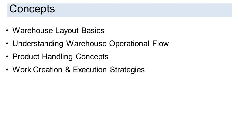 Introduction Warehouse Layout Basics Understanding Warehouse Operational Flow Product Handling Concepts Work Creation & Execution Strategies Concepts