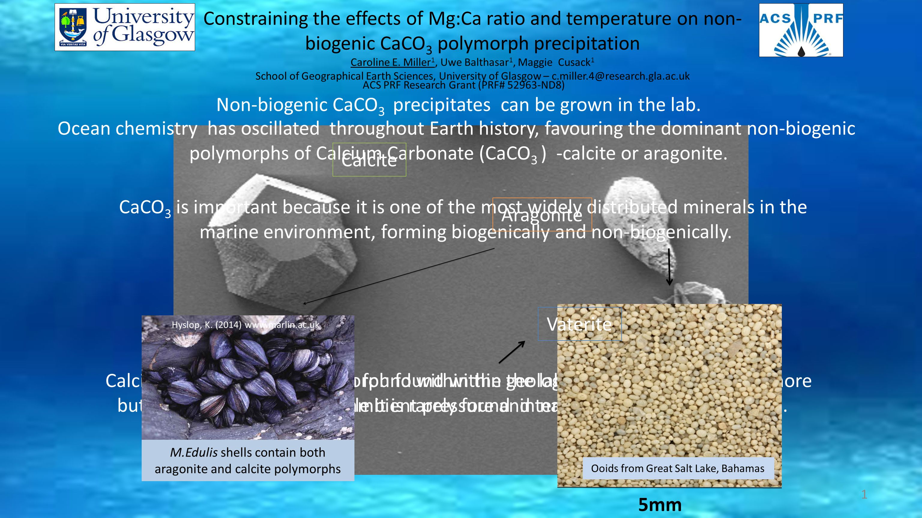 Constraining the effects of Mg:Ca ratio and temperature on non- biogenic CaCO 3 polymorph precipitation Caroline E.