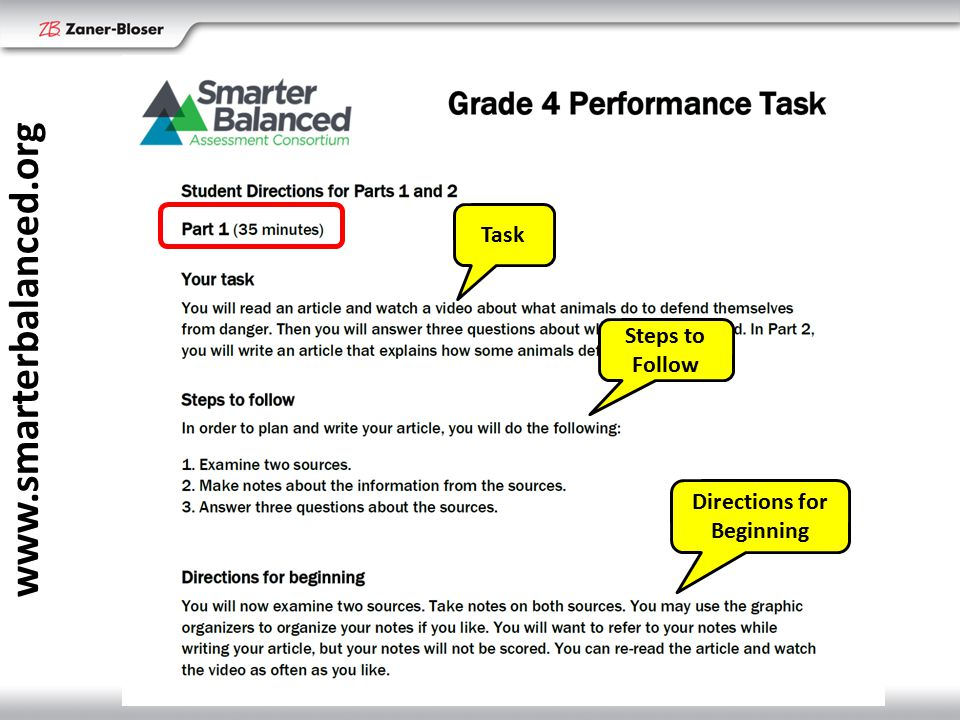www.smarterbalanced.org Task Steps to Follow Directions for Beginning