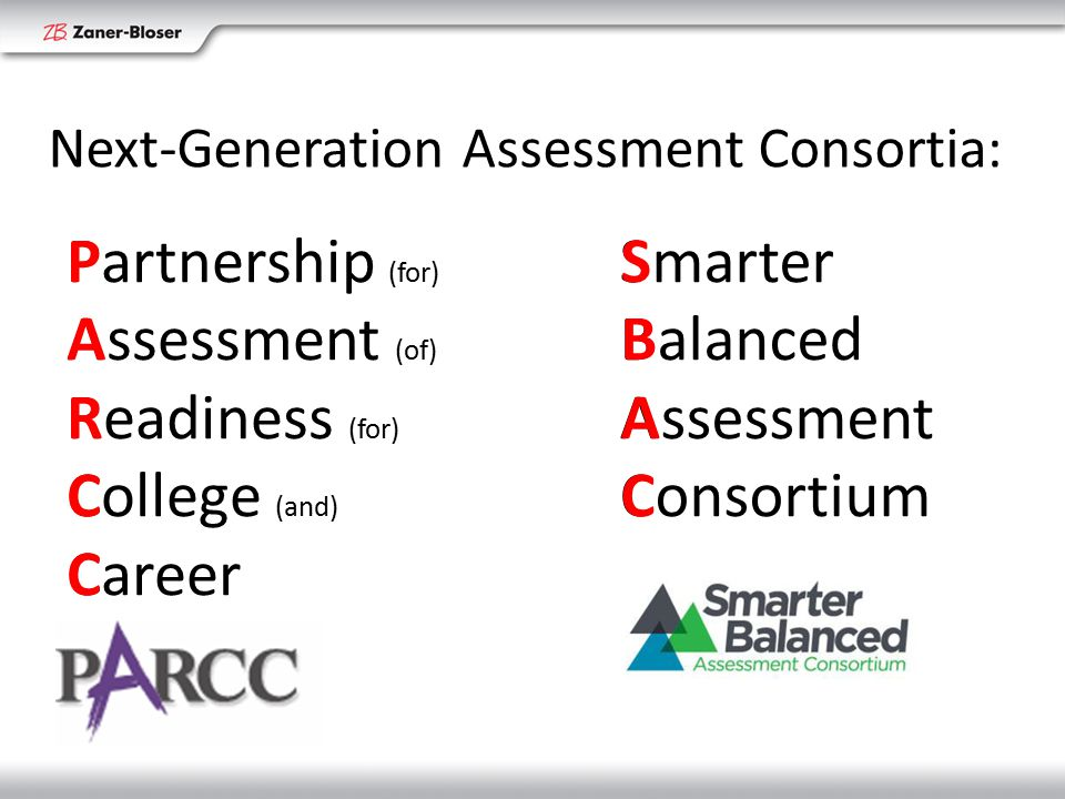 PARCCPARCC SBACSBAC Partnership (for) Assessment (of) Readiness (for) College (and) Career Smarter Balanced Assessment Consortium Next-Generation Assessment Consortia: