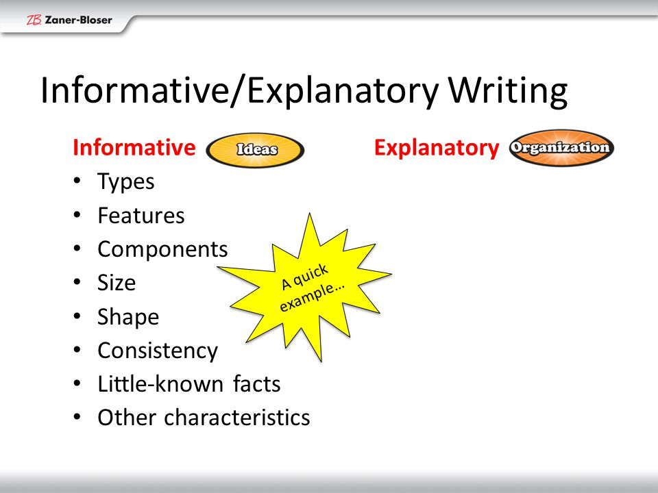 Informative/Explanatory Writing Informative Types Features Components Size Shape Consistency Little-known facts Other characteristics Explanatory Processes Relationships Causes Effects Function Behavior How things work Why things happen A quick example…
