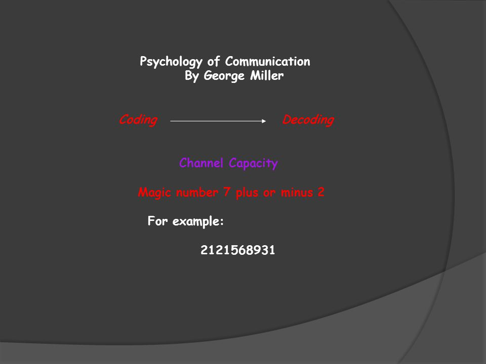 Psychology of Communication By George Miller Coding Decoding Channel Capacity Magic number 7 plus or minus 2 For example: 2121568931