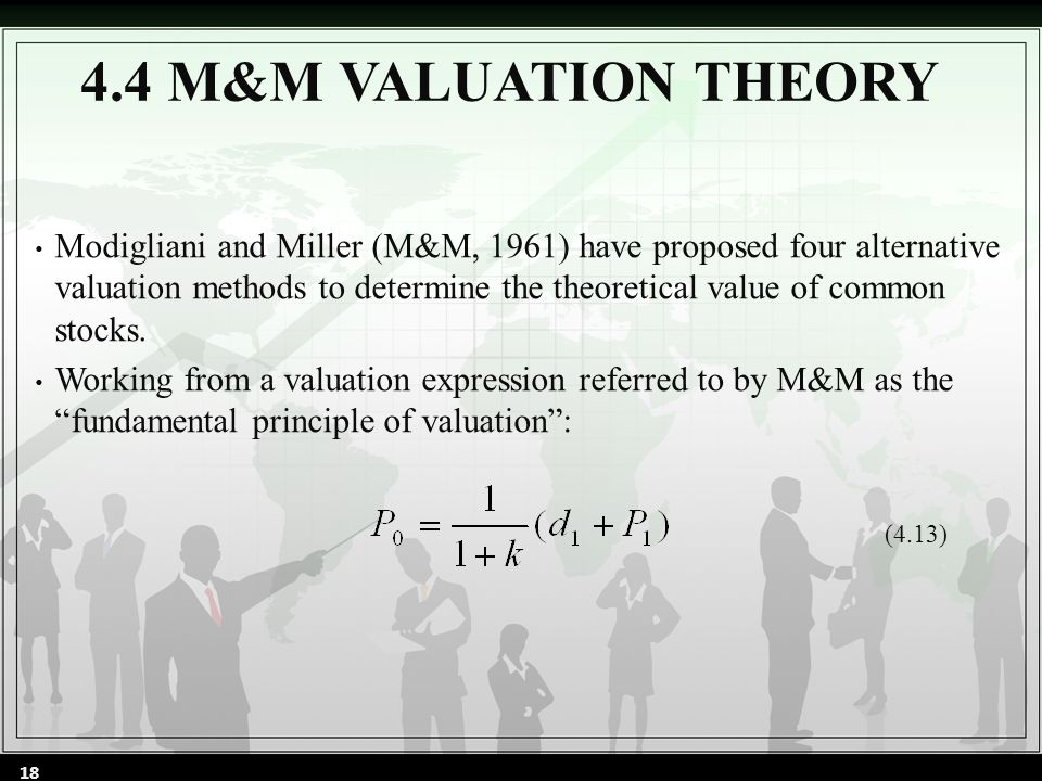 Modigliani and Miller (M&M, 1961) have proposed four alternative valuation methods to determine the theoretical value of common stocks.