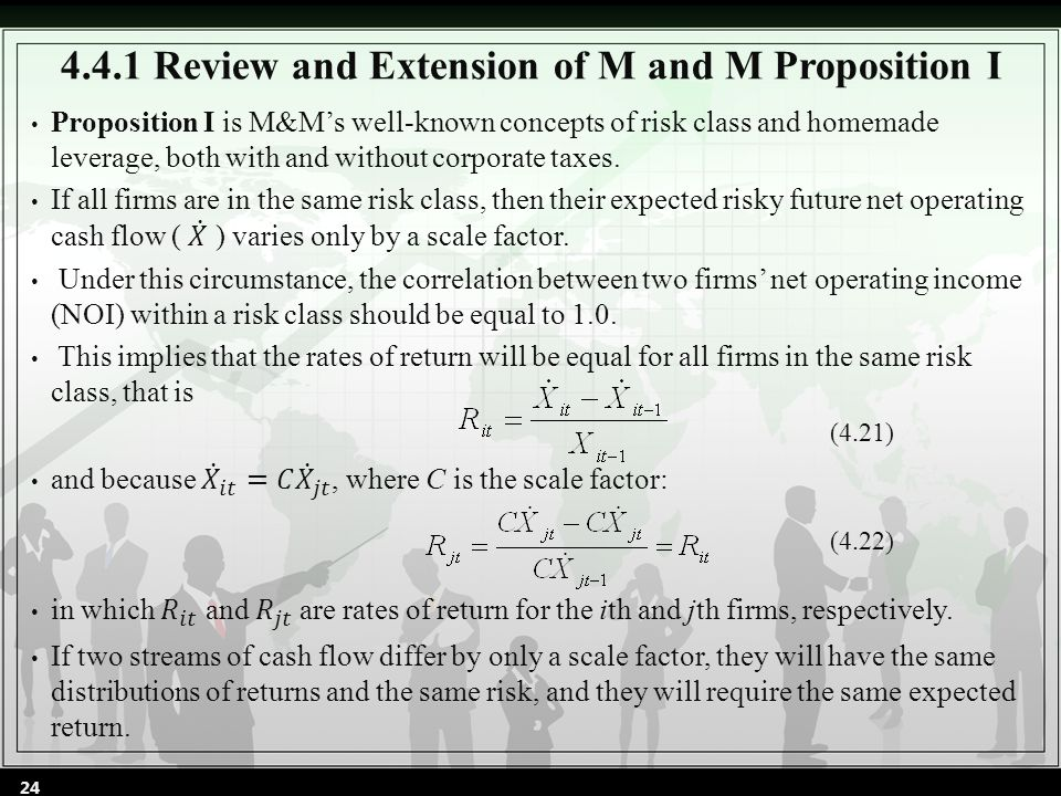 4.4.1 Review and Extension of M and M Proposition I (4.21) (4.22) 24