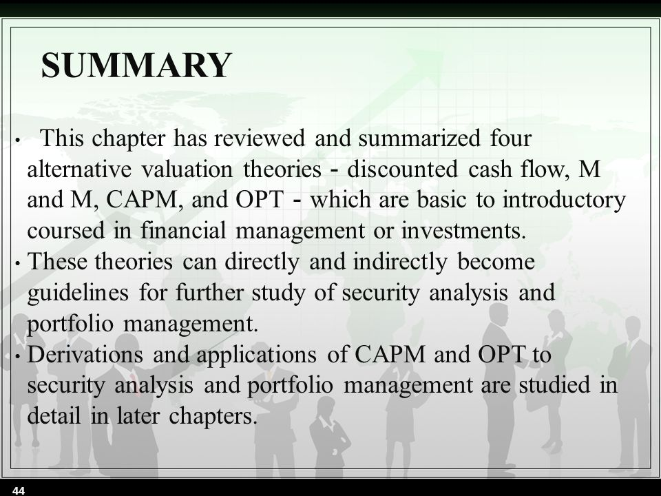 SUMMARY This chapter has reviewed and summarized four alternative valuation theories - discounted cash flow, M and M, CAPM, and OPT - which are basic to introductory coursed in financial management or investments.