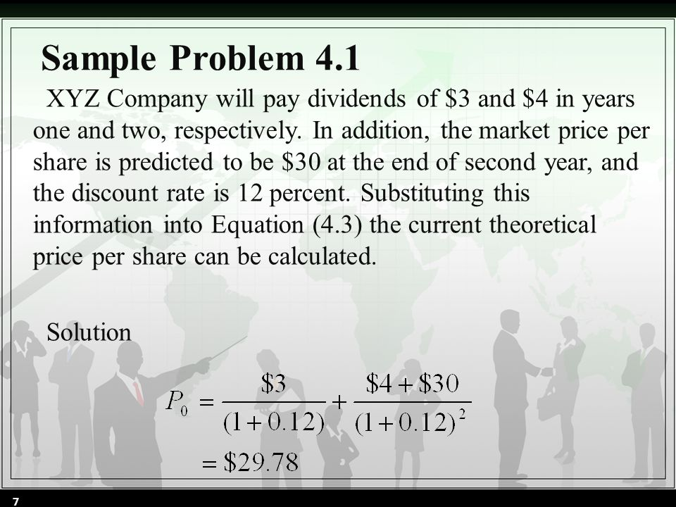 Sample Problem 4.1 XYZ Company will pay dividends of $3 and $4 in years one and two, respectively.