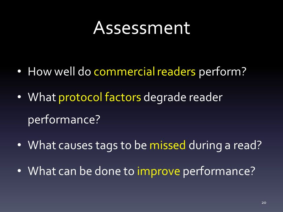 Assessment How well do commercial readers perform.