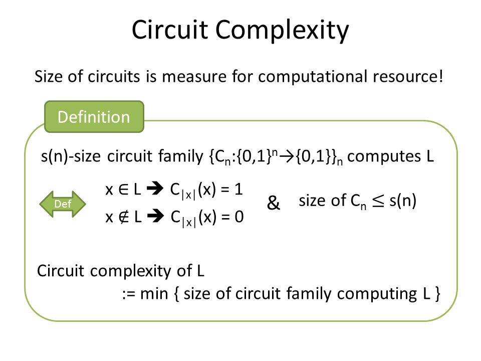 Circuit Complexity Size of circuits is measure for computational resource! Circuit complexity of L := min { size of circuit family computing L } s(n)-