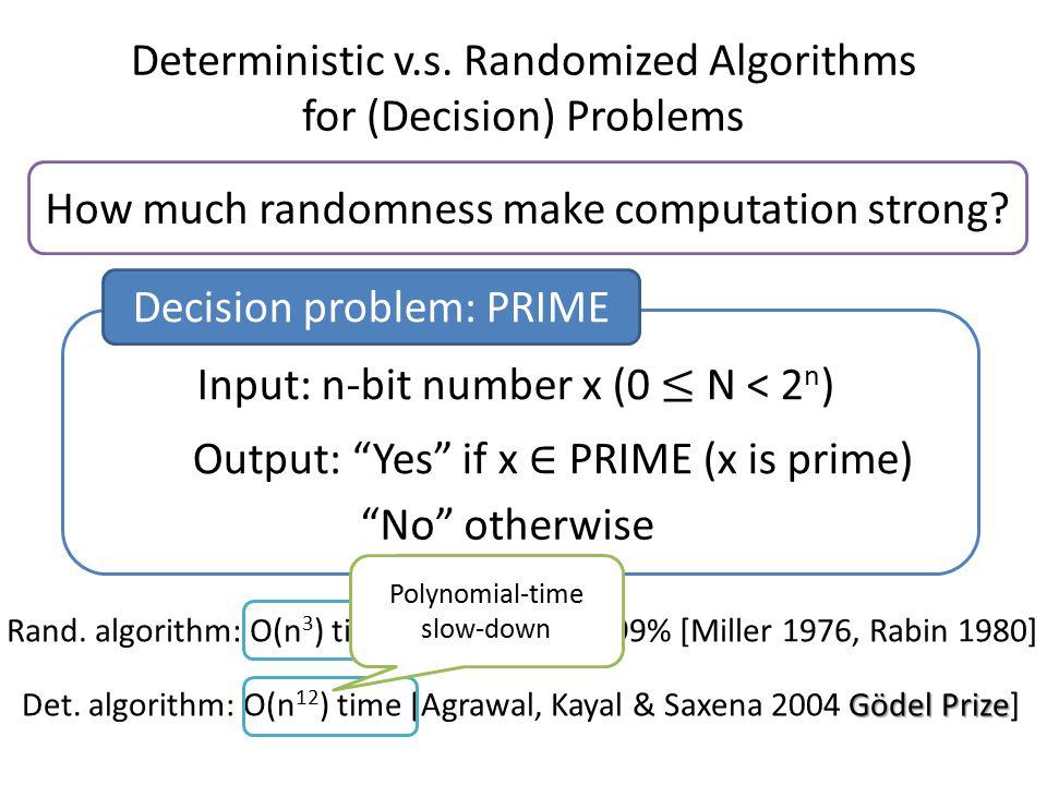 Deterministic v.s. Randomized Algorithms for (Decision) Problems How much randomness make computation strong? Gödel Prize Det. algorithm: O(n 12 ) tim