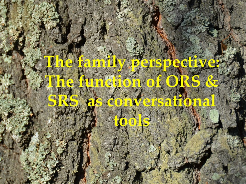 The family perspective: The function of ORS & SRS as conversational tools