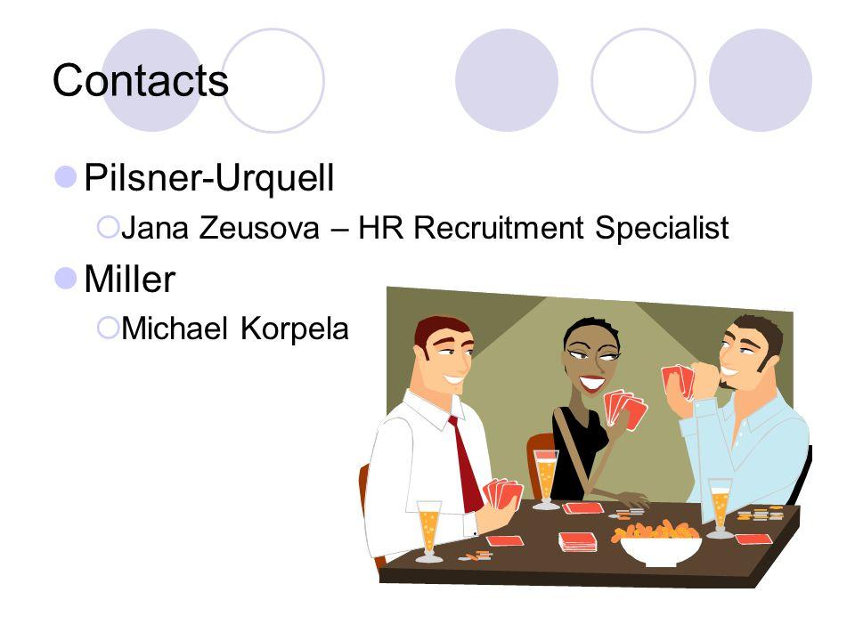 Contacts Pilsner-Urquell  Jana Zeusova – HR Recruitment Specialist Miller  Michael Korpela