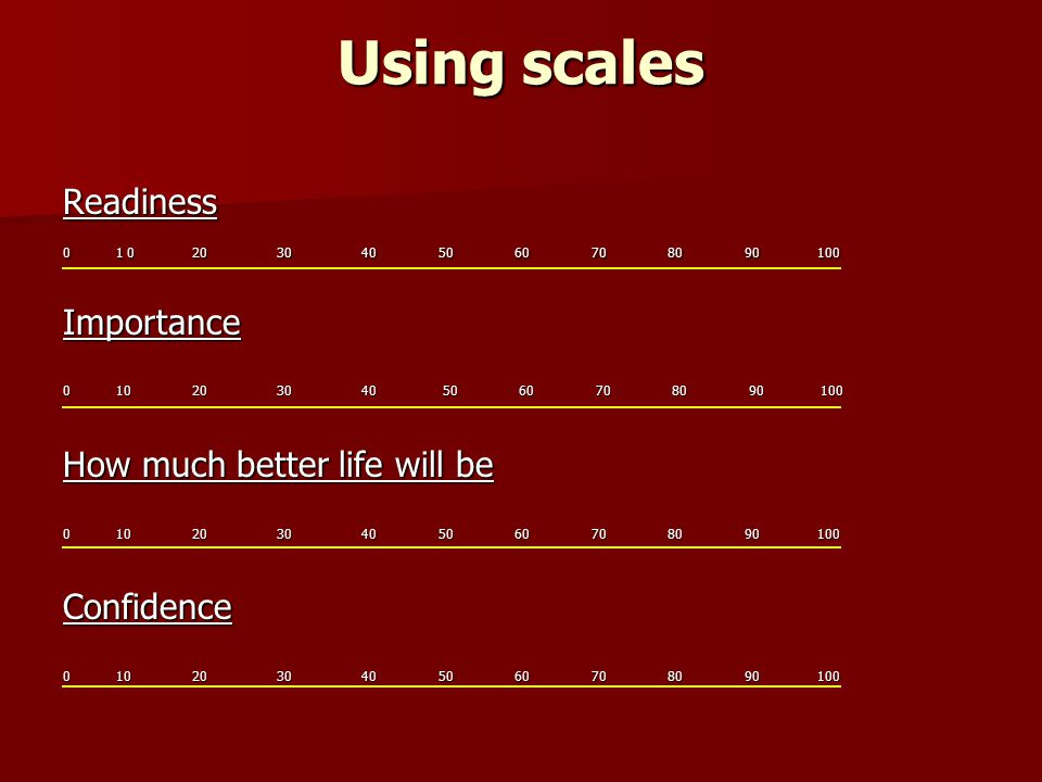 Using scales Readiness 0 1 0 20 30 40 50 60 70 80 90 100 Importance How much better life will be 0 10 20 30 40 50 60 70 80 90 100 Confidence