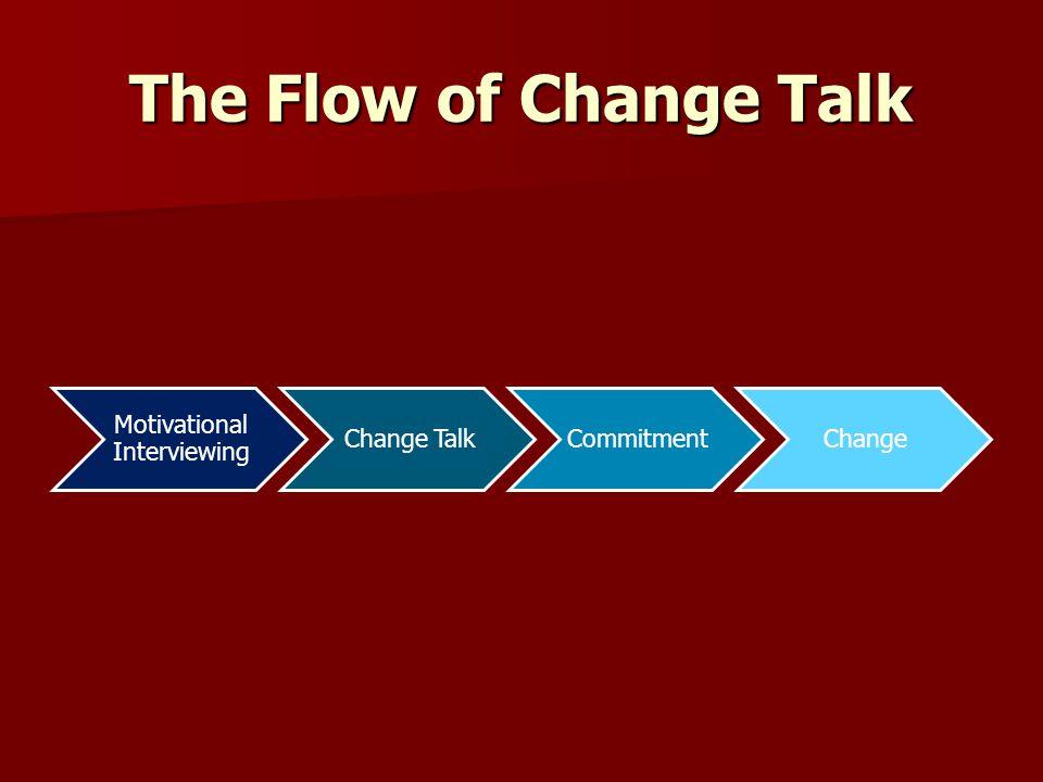 The Flow of Change Talk Motivational Interviewing Change TalkCommitmentChange