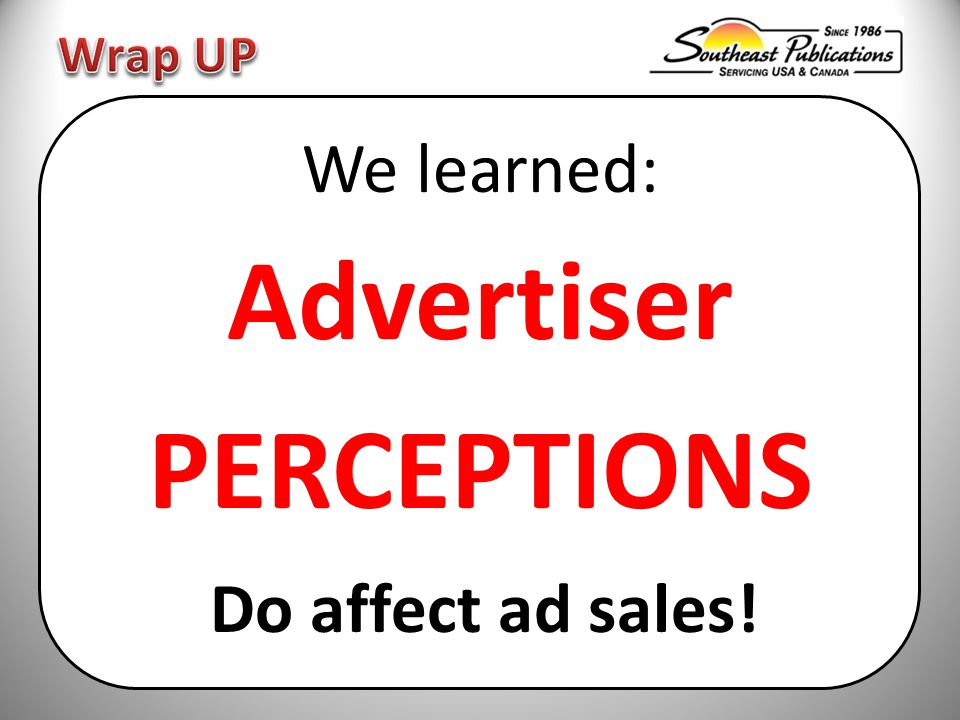 We learned: Advertiser PERCEPTIONS Do affect ad sales!