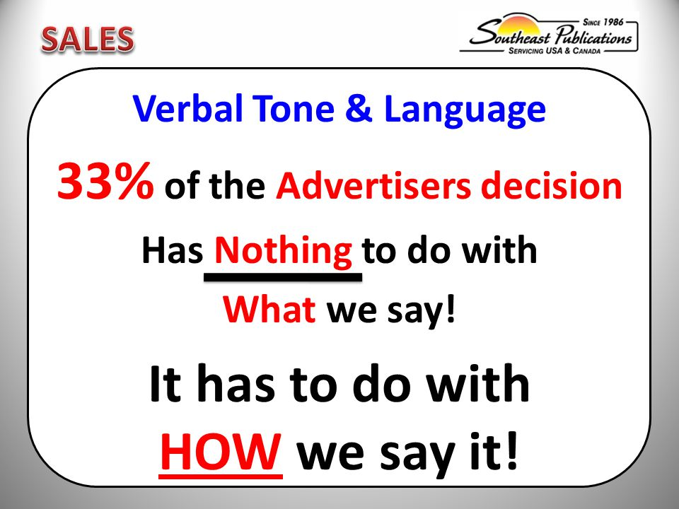 Verbal Tone & Language 33% of the Advertisers decision Has Nothing to do with What we say.
