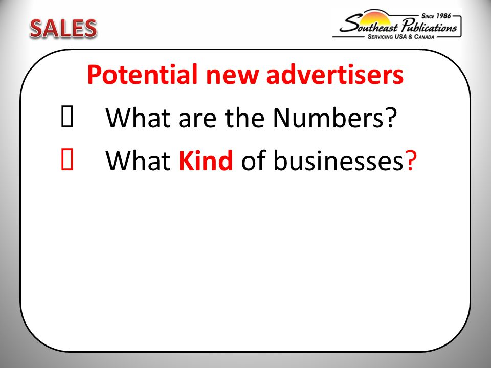 Potential new advertisers  What are the Numbers  What Kind of businesses