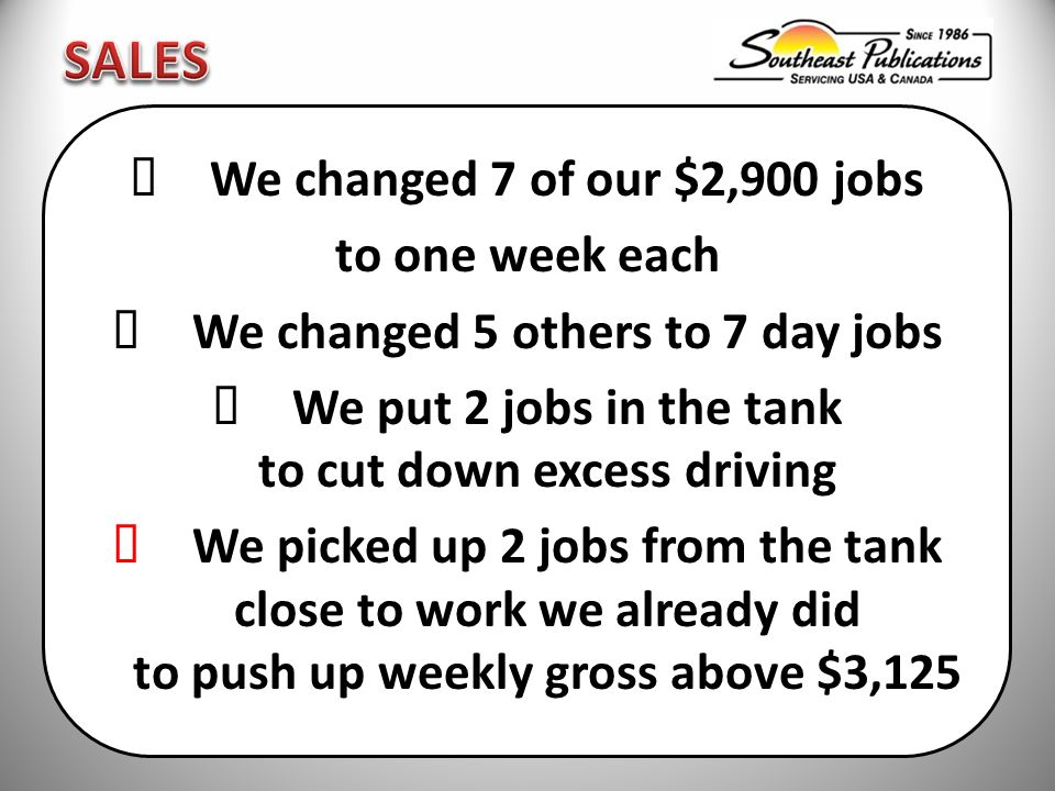  We changed 7 of our $2,900 jobs to one week each  We changed 5 others to 7 day jobs  We put 2 jobs in the tank to cut down excess driving  We picked up 2 jobs from the tank close to work we already did to push up weekly gross above $3,125