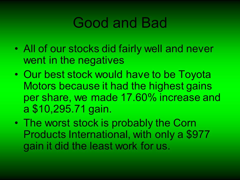 Good and Bad All of our stocks did fairly well and never went in the negatives Our best stock would have to be Toyota Motors because it had the highes