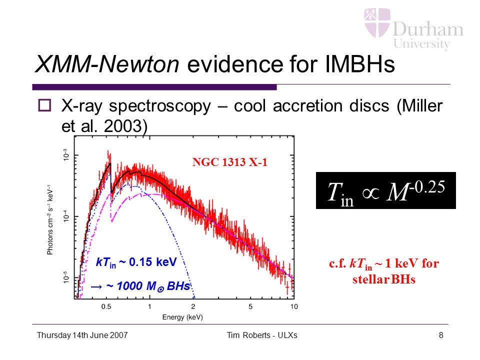 Thursday 14th June 2007 Tim Roberts - ULXs8 XMM-Newton evidence for IMBHs  X-ray spectroscopy – cool accretion discs (Miller et al.