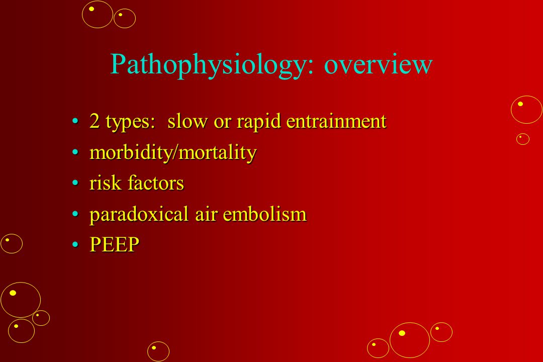 Pathophysiology: overview 2 types: slow or rapid entrainment2 types: slow or rapid entrainment morbidity/mortalitymorbidity/mortality risk factorsrisk factors paradoxical air embolismparadoxical air embolism PEEPPEEP