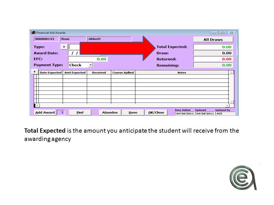 Total Expected is the amount you anticipate the student will receive from the awarding agency