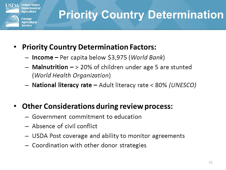 United States Department of Agriculture Foreign Agricultural Service Priority Country Determination Factors: – Income – Per capita below $3,975 (World Bank) – Malnutrition – > 20% of children under age 5 are stunted (World Health Organization) – National literacy rate – Adult literacy rate < 80% (UNESCO) Other Considerations during review process: – Government commitment to education – Absence of civil conflict – USDA Post coverage and ability to monitor agreements – Coordination with other donor strategies Priority Country Determination 11