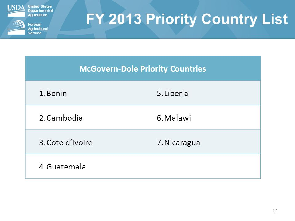 United States Department of Agriculture Foreign Agricultural Service McGovern-Dole Priority Countries 1.Benin5.Liberia 2.Cambodia6.Malawi 3.Cote d'Ivoire7.Nicaragua 4.Guatemala FY 2013 Priority Country List 12