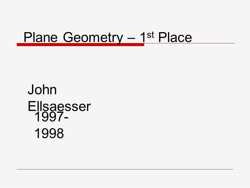 Plane Geometry – 1 st Place John Ellsaesser 1997- 1998