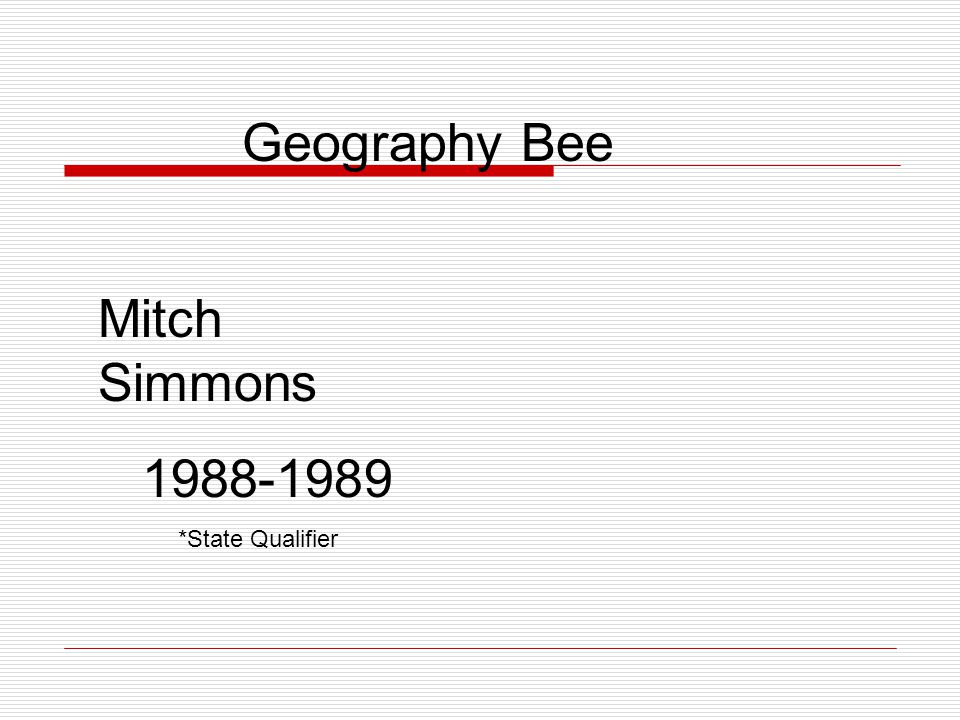 Geography - 1 st Place Jim Weidner 2000- 2001